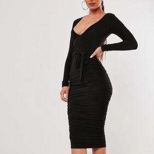 Black Slinky Plunge Belted Midi Dress